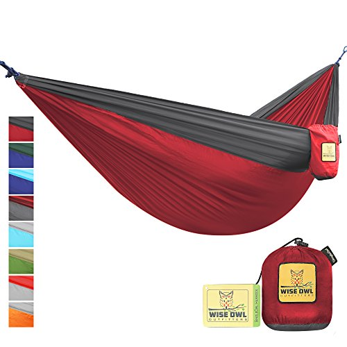 Wise Owl Outfitters Portable Lightweight Parachute Nylon Fabric Hammock with Ropes and Carbines, SingleOwl, Crimson Red & Charcoal Grey