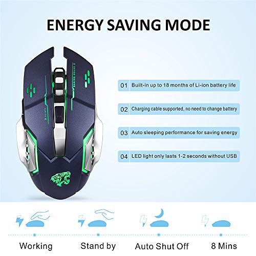 Adjustable DPI Energy Saving 6 Buttons Ergonomic Gaming Wireless Mouse