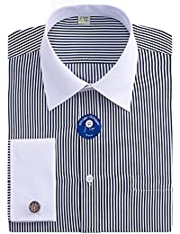 Men's Regular Fit French Cuff Spead Collar Long Sleeve Metal Cufflink Dress Shirts