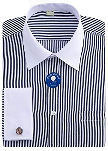 J.VER Men's French Cuff Dress Shirts Regular Fit Long Sleeve Spead Collar Metal Cufflink - Color:Stripe Black, Size: 18.5