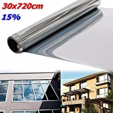 Aissimio Window Film One way Mirror Film Reflective Sticker Privacy Security Heat Control Anti UV Window Tint for Home and Office 12 in x 24 ft Silver