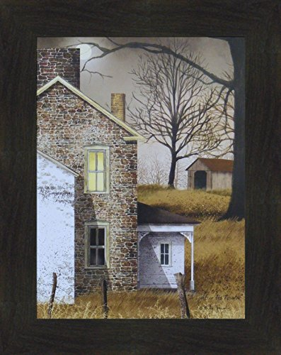 A Light In The Window by Billy Jacobs 16x20 Brick Stone House Night Full Moon Country Primitive Folk Art Print Framed Picture (2