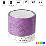 Leacoco Mini Wireless Portable Bluetooth Speaker With LED and Build-in Mic Support AUX TF for iPhone iPod and Android System Equipment Etc. (Purple) (CTX-liewenyinxiang-zi)