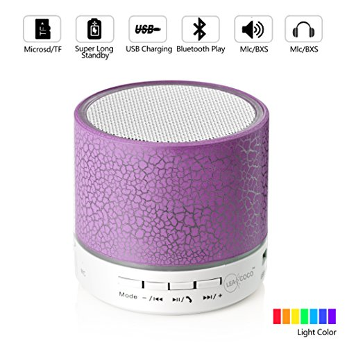 Leacoco Mini Wireless Portable Bluetooth Speaker with LED and Build-in Mic Support AUX TF for iPhone iPod and Android System Equipment Etc. (Purple)