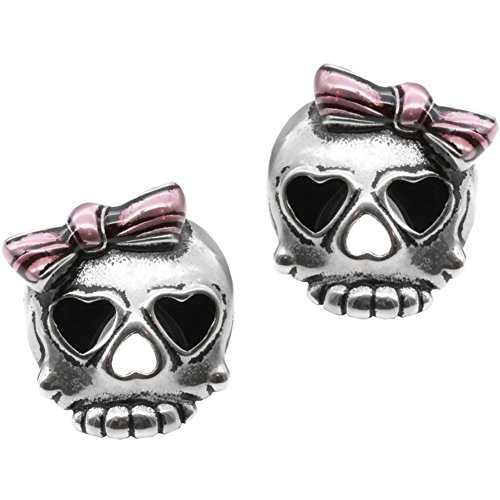 Controse Jewelry Bejeweled Badass In Pink Skull Earrings