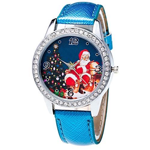 alignmentpai Couple Girls Wrist Watch Christmas Pattern Rhinestone Dial Faux Leather Strap Analog Quartz Watch Blue ()