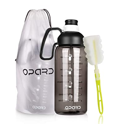Opard Half Gallon Water Bottle with Time Marker 64oz Motivational Water Jug Large Sports Water Bottle with Straw Handle BPA Free for Gym Fitness