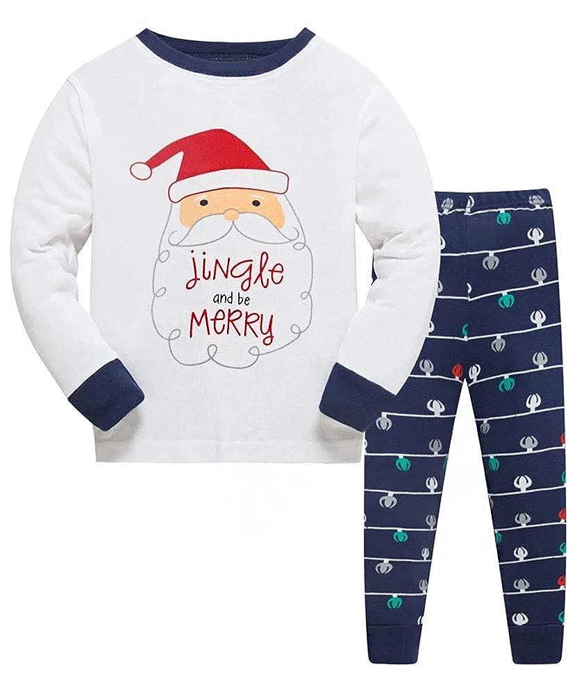 Christmas Pjs Kids Pyjamas Set for Boys Nightwear Cotton Toddler Clothes Girls Fun Santa Claus Sleepwear Unisex Long Sleeve 2 Piece Outfit 1-7 Years (Best Xmas Gifts)