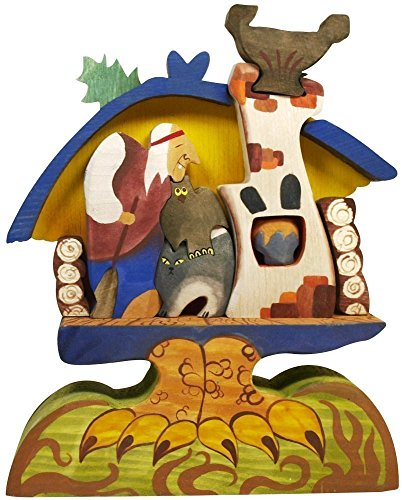 [Baba Yaga in her Forest Hut on Chicken Legs - Hand carved, Hand-painted Toy - 3D Wooden Jigsaw puzzle - Natural Eco-friendly toy - Russian folk] (Make Lego Costume Legs)