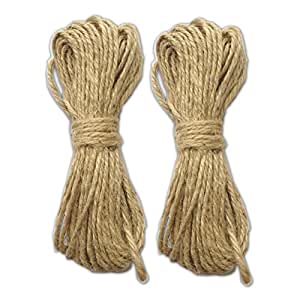 LWR Crafts Jute Rope 2mm 45ft Per Pack (Pack of 2) (Natural)