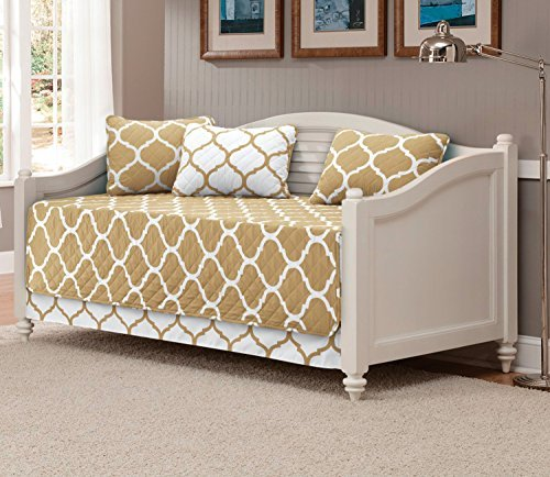 Mk Collection 5pc Modern Elegant Reversible Bedspread DayBed Cover Set Geometric Contemporary Pattern Taupe/White Quilted New