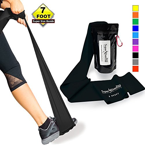SUPER EXERCISE BAND X Heavy BLACK Resistance Band. Your Home Gym Fitness Equipment Kit for Strength Training, Physical Therapy, Yoga, Pilates, Chair Workout | LATEX FREE For ALLERGIC SAFETY | 7 ft