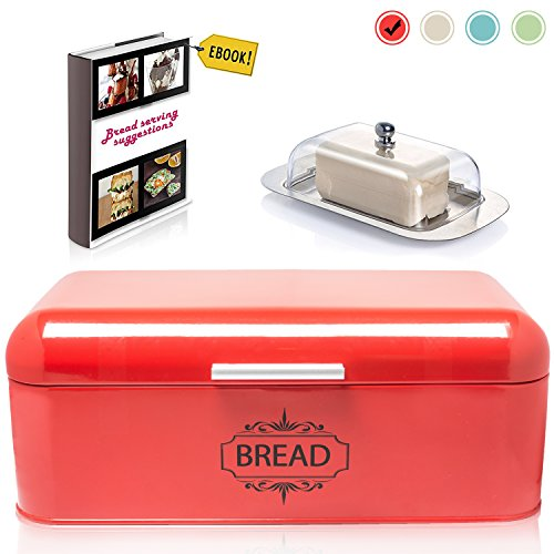 Vintage Bread Box For Kitchen Stainless Steel Metal in Retro Red + FREE Butter Dish + FREE Bread Serving Suggestions eBook 16.5