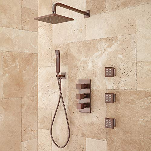 (Signature Hardware 421822 Ryle Thermostatic Shower System with Hand Shower and 3 Body Sprays - Rough In Included)