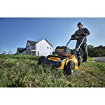 Dewalt 20v max lawn mower, 3-in-1, 2 batteries (dcmw220p2) 24 push mower comes with powerful brushless motor and (2) 20v max* batteries working simultaneously for high power output. 3-in-1 push lawn mower for mulching, bagging and side discharging battery lawn mower has heavy-duty 20-inch metal deck