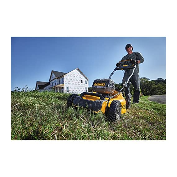 Dewalt 20v max lawn mower, 3-in-1, 2 batteries (dcmw220p2) 8 push mower comes with powerful brushless motor and (2) 20v max* batteries working simultaneously for high power output. 3-in-1 push lawn mower for mulching, bagging and side discharging battery lawn mower has heavy-duty 20-inch metal deck