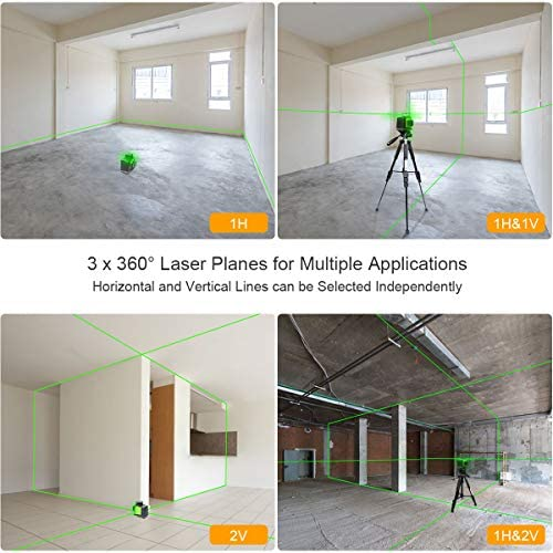 Huepar 3D Green Beam Self-Leveling Laser Level 3×360 Cross Line Three-Plane Leveling and Alignment Laser Level Tool -Two 360 Vertical and One 360 Horizontal Line -Magnetic Pivoting Base GF360G
