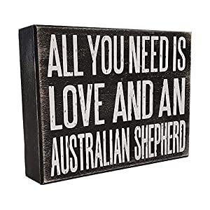 JennyGems All You Need is Love and an Australian Shepherd - Stand Up Wooden Box Sign - Australian Shepherd Home Decor - Aussie Sheperd Decorations and Accessories - Dog Artwork, Queensland, 7