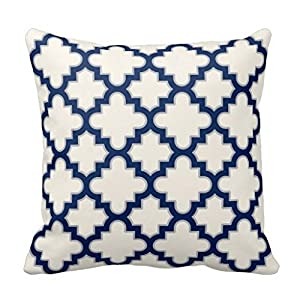 Amazon.com: Modern Moroccan Quatrefoil in Cream Navy Blue Grey Throw Pillow Case 20 x 20In: Home ...