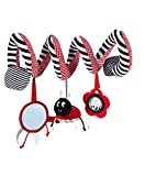 Ladybug Safety Mirror Wrap Around Crib Infant Seat Spiral Activity Toy
