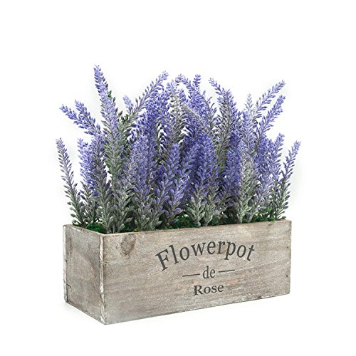 Velener Artificial Flower Potted Lavender Plant for Home Decor (Wooden Tray) - Wooden Box Planter Make