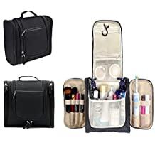 Hanging Toiletry Bag,Multifunction Travel Bag Organizer and Makeup Bag,Travel Accessories Kit or Cosmetic Bag with Mesh Pockets and Zipper,Black