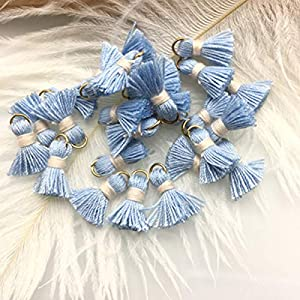 MOPOLIS 10 x Mini Cotton Tassels Craft Jewellery Bohemian Boho Earring Necklace Bracelet | Colour – #5. Baby Blue