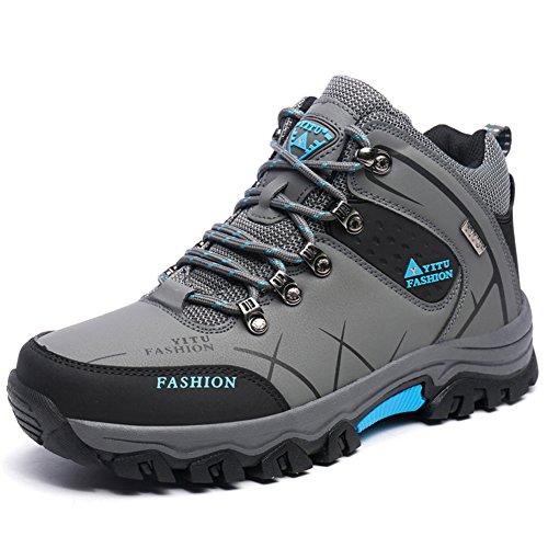 Yitu Hommes Mid Bottes De Randonnée Chaussures De Trekking En Plein Air Baskets Gris