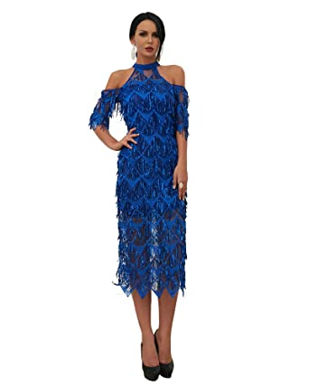f9f5b948 Miss ord Sexy High Neck Off Shoulder Tassel Sequin Short Sleeve Dresses  Split Elegant Party Dress