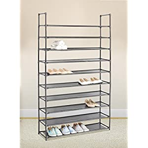 SoSo-BanTian1989 Black 10 Tiers Shoe Rack 50 Pairs Non-Woven Fabric Shoe Storage Organizer Shoe Tower Cabinet,39.4 x 11 x 70inch
