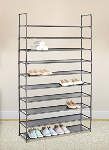 Black 10 Tiers Shoe Rack 50 Pairs Non-woven Fabric Shoe Tower Storage Organizer Cabinet (Rack 50 Shoe)