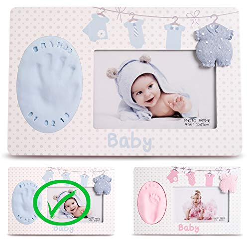 (Baby Handprint & Footprint Photo Frame Kit - Premium Casting No Mold Clay - Boy Girls Baby Shower Gifts - Newborn Keepsake Personalized Picture Frame - Wall/Table - Free Stamp Set- Blue)
