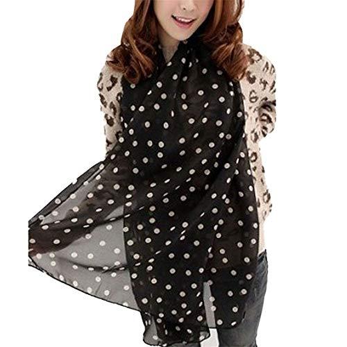 YOMXL Snowfoller Fashion Chiffon Scarf,Vintage Style Polka Dots Lightweight Scarf One Size Spring Winter Oblong Scarves Shawl