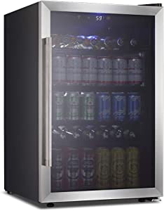 4.5 Cu.ft Stainless Steel Beverage Refrigerator and Cooler,126 Can Mini Fridge with Digital Temperature Display for Soda,Beer or Wine,Drink Dispenser Cooler Refrigerator for Home,Office,Bar (Black)