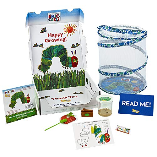 Insect Lore The Very Hungry Caterpillar Butterfly Growing Kit with Live Caterpillars – Coloring Book & Crayons Bundle
