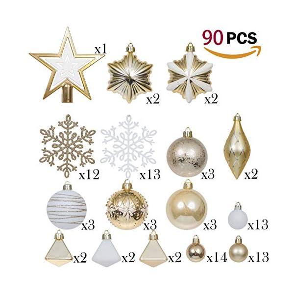 Valery Madelyn Palle di Natale 90 Pezzi di Palline di Natale, 3-10 cm Eleganti Ornamenti di Palla di Natale Infrangibili Bianchi e Oro per la Decorazione Dell'Albero di Natale 3 spesavip