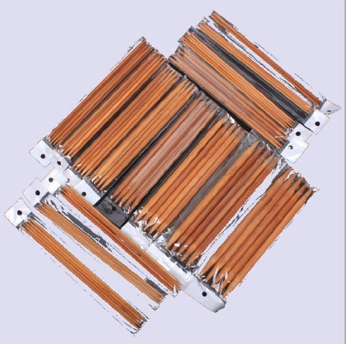 Ostart 5 Sets of 15 Sizes 8'' (20cm) Double Pointed Carbonized Bamboo Knitting Kits Needles Set (2.0mm - 10.0mm) ()