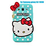 NEW 2015 3D Cute silicone hello kitty Cartoon Case With Pendant Rubber Back Protective Cover For Samsung galaxy S3 S4 S5 S6 (I9300 Mint Green)
