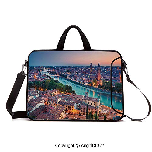 - AngelDOU Waterproof Laptop Sleeve Bag Neoprene Carrying Case with Handle & Strap Verona Italy During Summer Sunset Blue Hour Adige River Medieval Historcal for Women &Men Work Home Office Aqua Coral