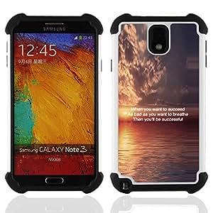For Samsung Galaxy Note3 N9000 N9008V N9009 - Sunset Inspiring Message Quote Ocean /[Hybrid 3 en 1 Impacto resistente a prueba de golpes de protecci????n] de silicona y pl????stico Def/ - Super Marley Sh