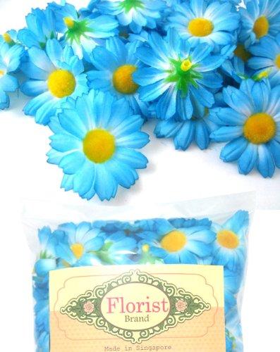 (100) Silk Blue Gerbera Daisy Flower Heads , Gerber Daisies - 1.75 - Artificial Flowers Heads Fabric Floral Supplies Wholesale Lot for Wedding Flowers Accessories Make Bridal Hair Clips Headbands Dre