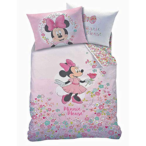 Minnie Mouse Bloom UK Single/US Twin Unfilled Duvet Cover and Pillowcase Set