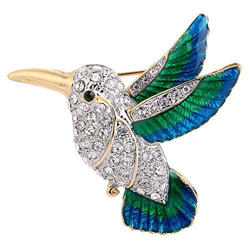 EVER FAITH Austrian Crystal Green w/Blue Enamel Flying Little Hummingbird Brooch Pin Clear Gold-Tone ()