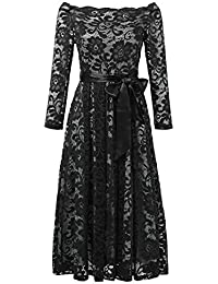JayJay Women Vintage Floral Lace Boat Neck Slim Swing Bow Belt Cocktail Party Dress