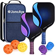 JoncAye Pickleball Paddle Set of 2, Pickleball Set with 2 Lightweight Pickleball Rackets, 3 Indoor and Outdoor