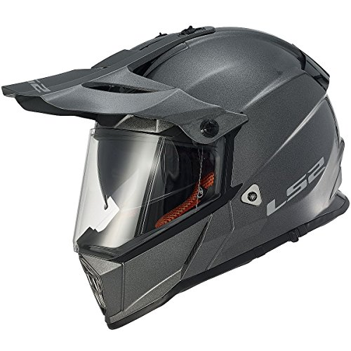 Motorcycle Sport Dual Accessories (LS2 Helmets Pioneer Solid Adventure Off Road Motorcycle Helmet with Sunshield (Gunmetal, Large))