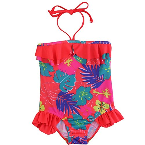 Price comparison product image FEESHOW Girls' One Piece Halter Floral Swimsuit Toddler Bikini Swimwear Orange 4T