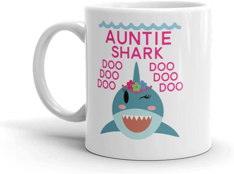 """""""Shark Auntie"""" Unique Ceramic Coffee Mug/Cup (11 oz.) — Birthday Mother's Day Christmas For Mom Mother Grandma"""