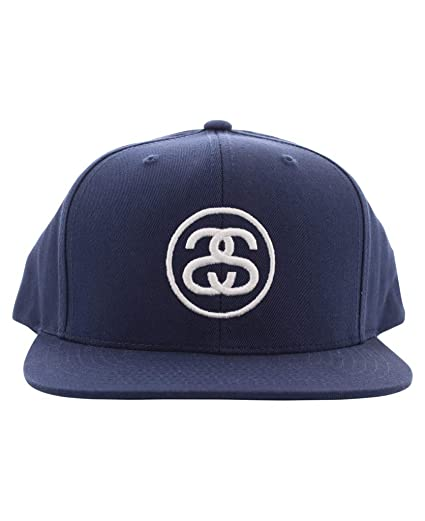 c8fd937bff6 Stussy SS-Link SP17 Cap Navy White Embroidery Logo Snapback Men s Hat at  Amazon Men s Clothing store