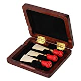 Maroon Wooden Bassoon Reeds Case for 3pcs Reeds with Magnetic Closure